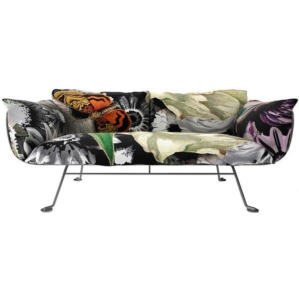 Moooi Nest Sofa - Metallic - Flower Bits found on Polyvore featuring home,  furniture,