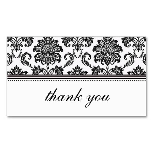 Black and White Damask Thank You Card Business Card Templates - thank you card template
