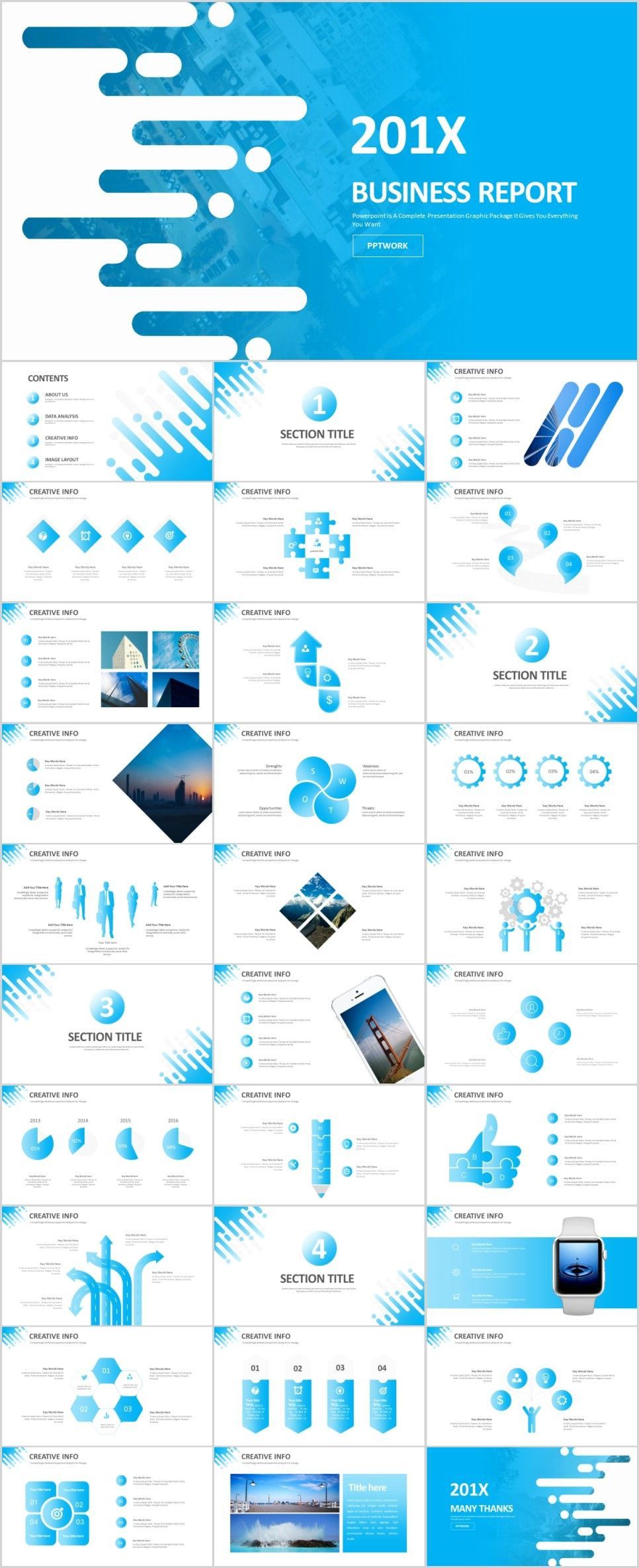 31 Creative blue infographics PowerPoint templateThe highest quality PowerPoint Templates and Keynote Templates download