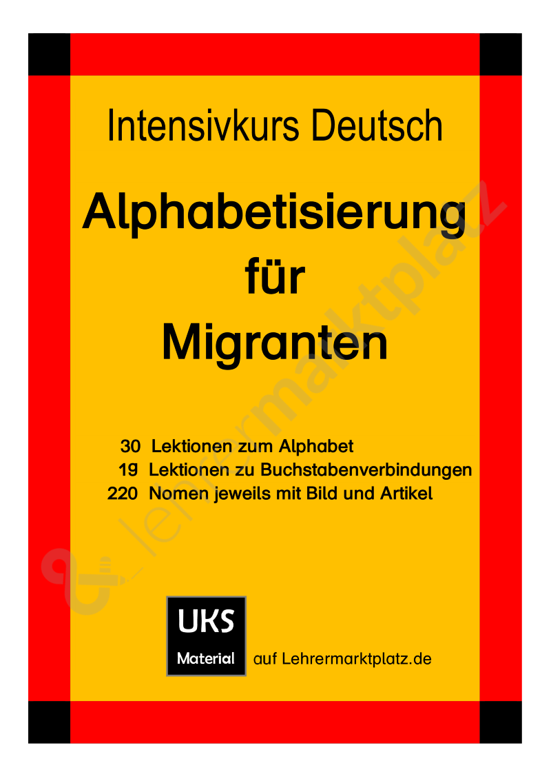 intensivkurs deutsch i alphabetisierung f r migranten sch lerarbeitsheft 1. Black Bedroom Furniture Sets. Home Design Ideas