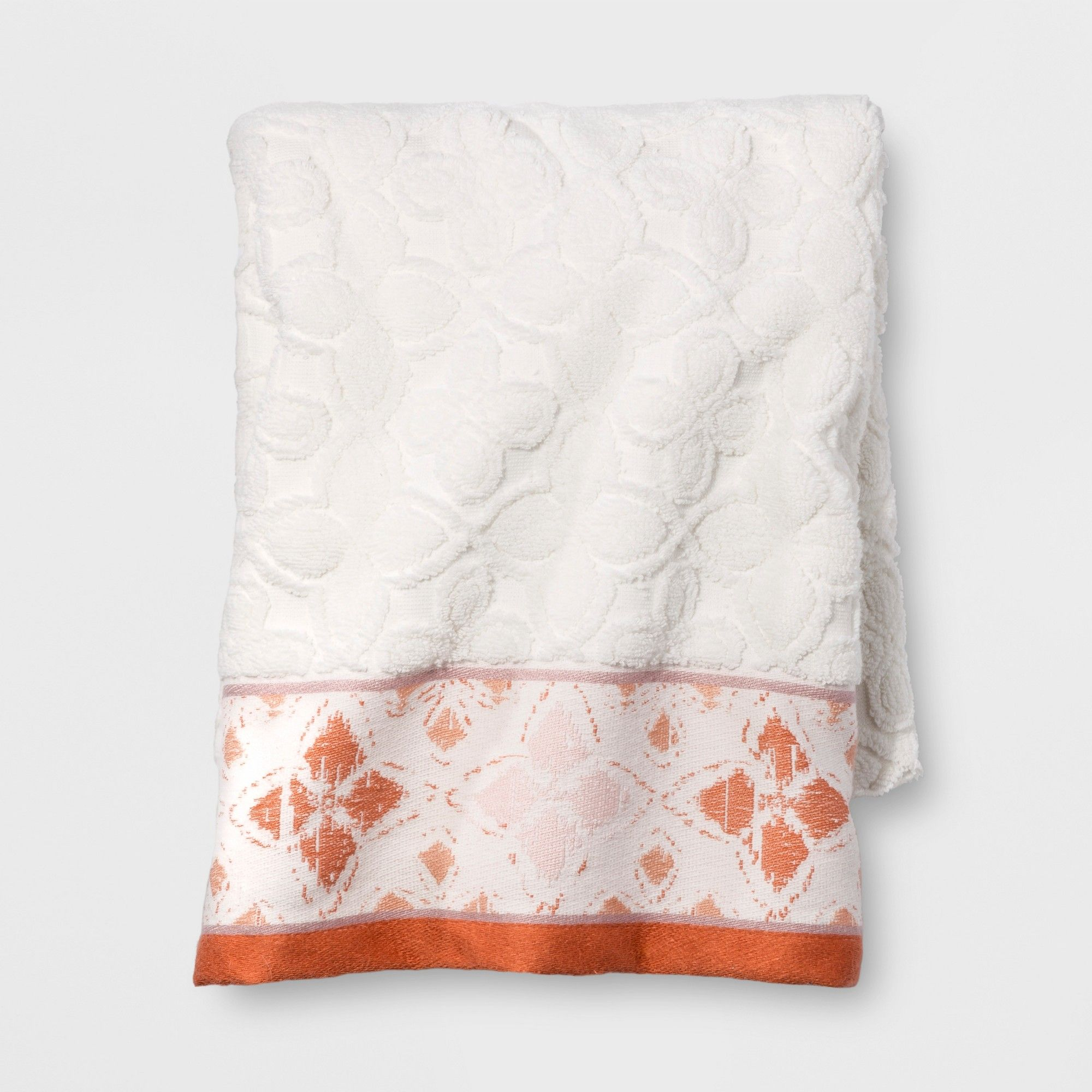 Diamond Border Bath Towel White Orange Opalhouse White Towels