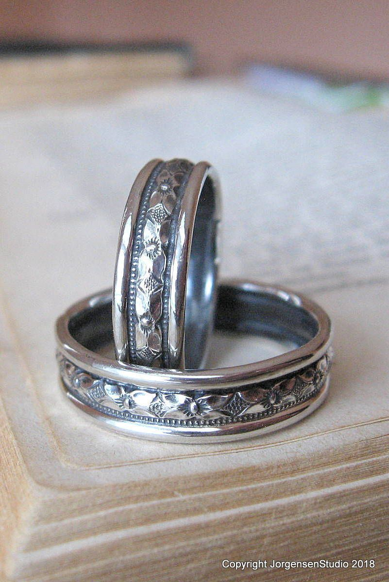 Art Deco Mens Wedding Band In Sterling Silver With Geometric Pattern