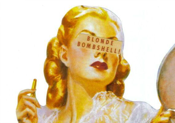 Retro Modern Art Print of Paper Collage Blonde Bombshell Blond Woman