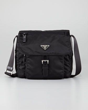 2bc5372ac6c0 The best travel bag for those marathon tour days. Vela Flap-Front Messenger  by Prada #pradamessengerbag
