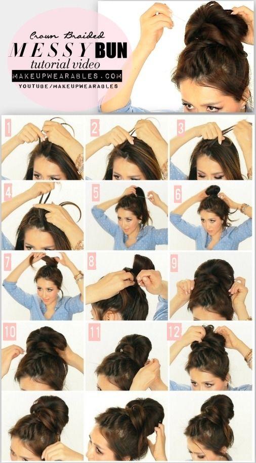 5 Minute Messy Bun With Crown Braid Tutorial Video Cute Hairstyles For Medium Long Hair Hair Styles Long Hair Styles Hair Bun Tutorial