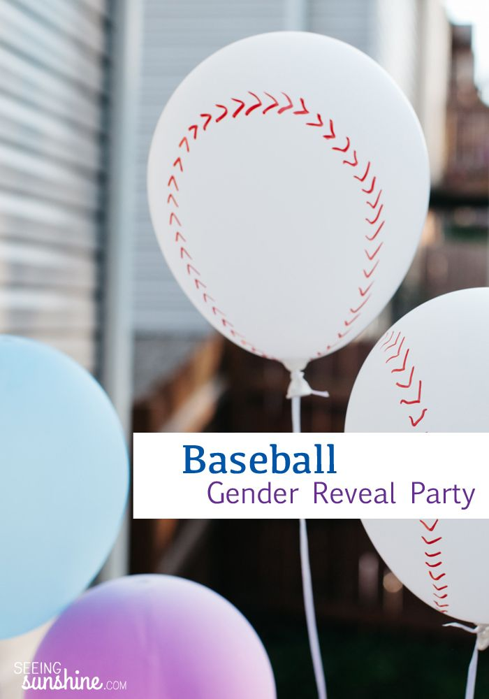 Baseball Gender Reveal Party Ideas Seeing Sunshine Baseball Gender Reveal Gender Reveal Party Gender Reveal Decorations