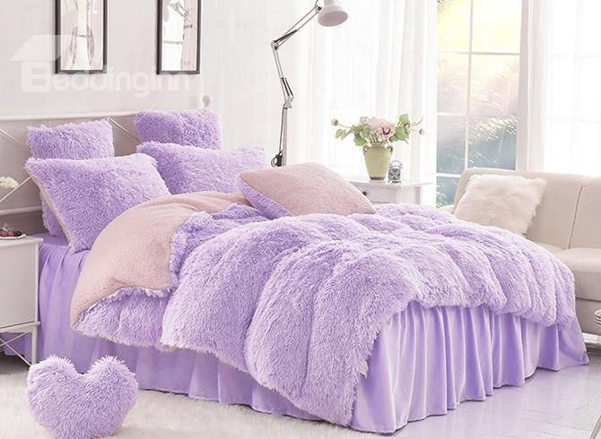Solid Purple And Pink Color Blocking Super Fluffy 4 Piece Bedding