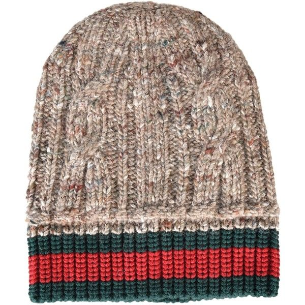 new style e8e5e 9e8ee Gucci Web Stripe Beanie ( 150) ❤ liked on Polyvore featuring men s fashion,  men s accessories, men s hats, beige, mens beanie hats and gucci mens hat