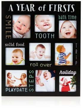 Pearhead Baby S Year Of Firsts Chalkboard Frame In Black Baby Collage Baby Scrapbook Pages Baby Boy 1st Birthday