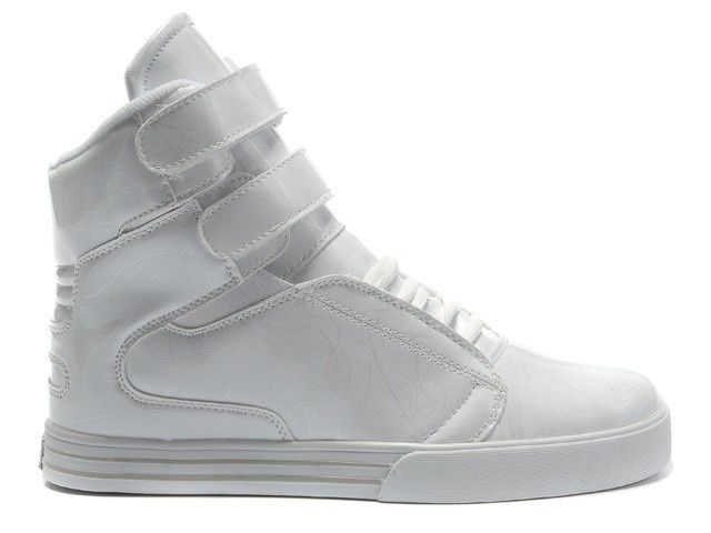 Supra High Top Shoes Men All White Patent
