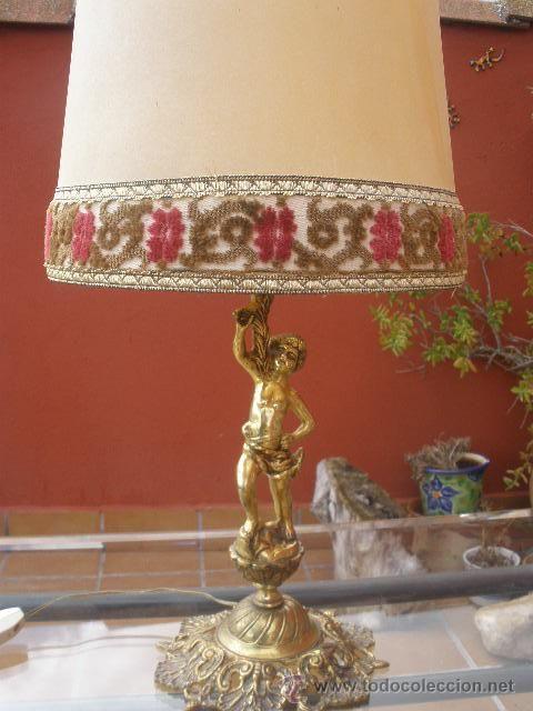 Lampara de mesa de bronce pantalla pergamino y tela antig edades iluminaci n l mparas - Pantallas de lamparas de mesa ...