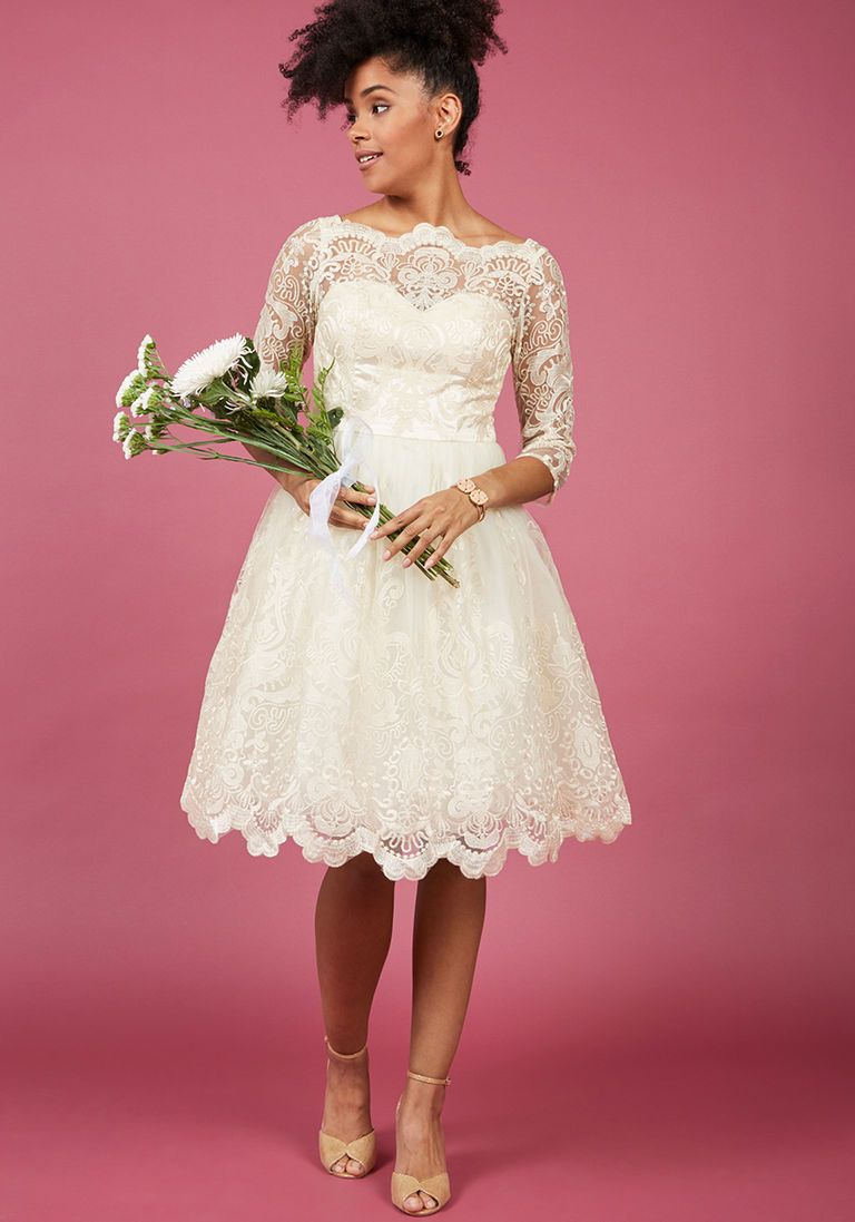 Courthouse wedding dress plus size  Chi Chi London Gilded Grace Lace Dress in Ivory in   Chi chi