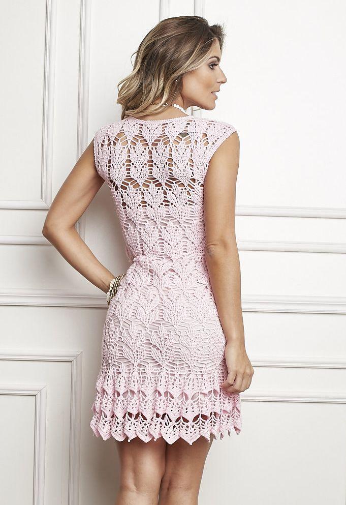 4f0546f965c9 Receitas Círculo - Vestido Crochê Rosa | crochet skirts | Vestidos ...