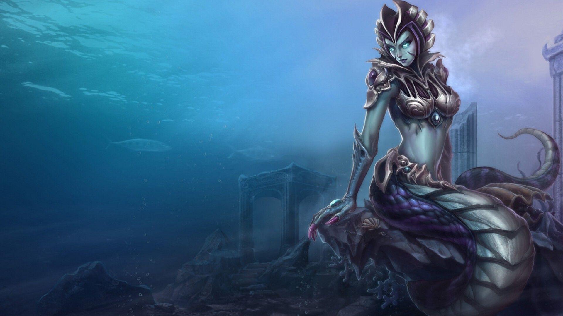 fantasy mermaid with black eyes download wallpaper