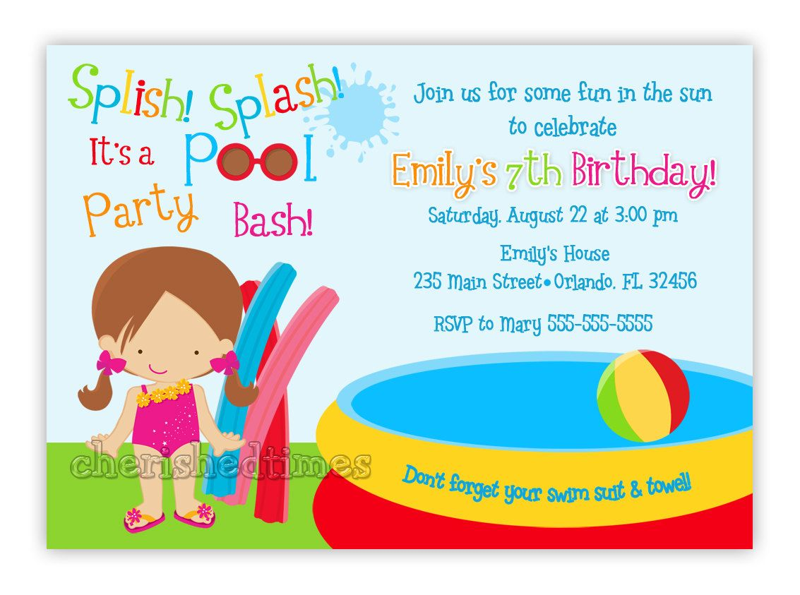 Pool Party Little Girl Birthday | Pool Party Birthday Invitation ...