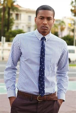 Vintage prints aw 13 blue and white striped shirt tie for Blue striped shirt with tie