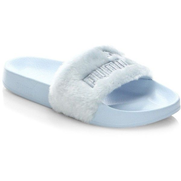 6cce2c2401669b PUMA FENTY by Rihanna Faux-Fur Logo Slides Sandals ($90) ❤ liked on  Polyvore featuring shoes, sandals, blue sandals, synthetic shoes, open toe  sandals, ...