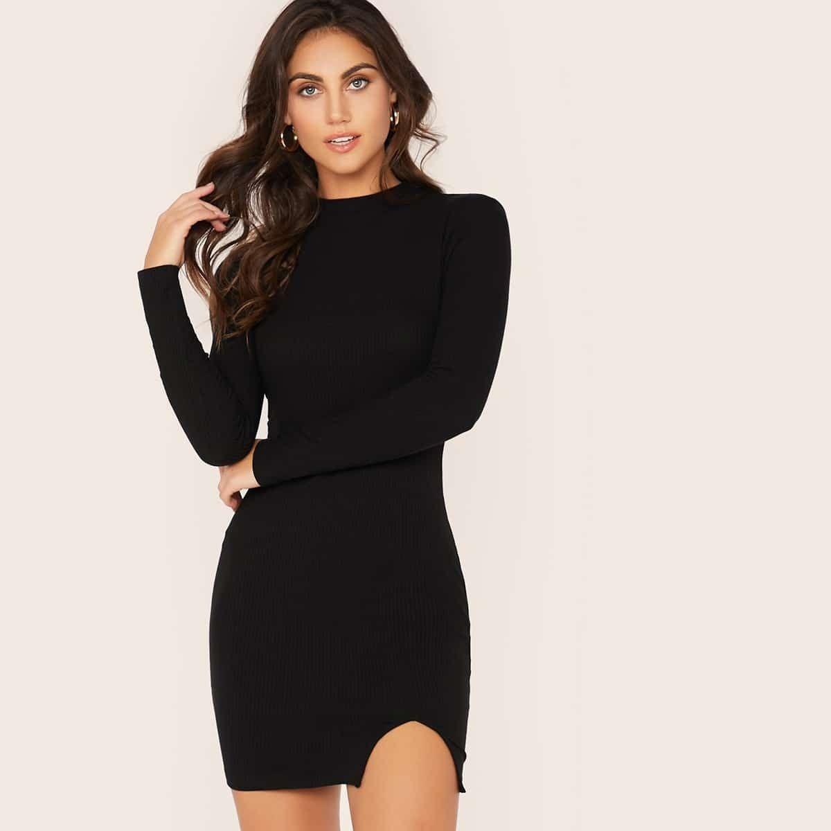 strick samt kleid, stehkragen, schlitz schwarz     kleider