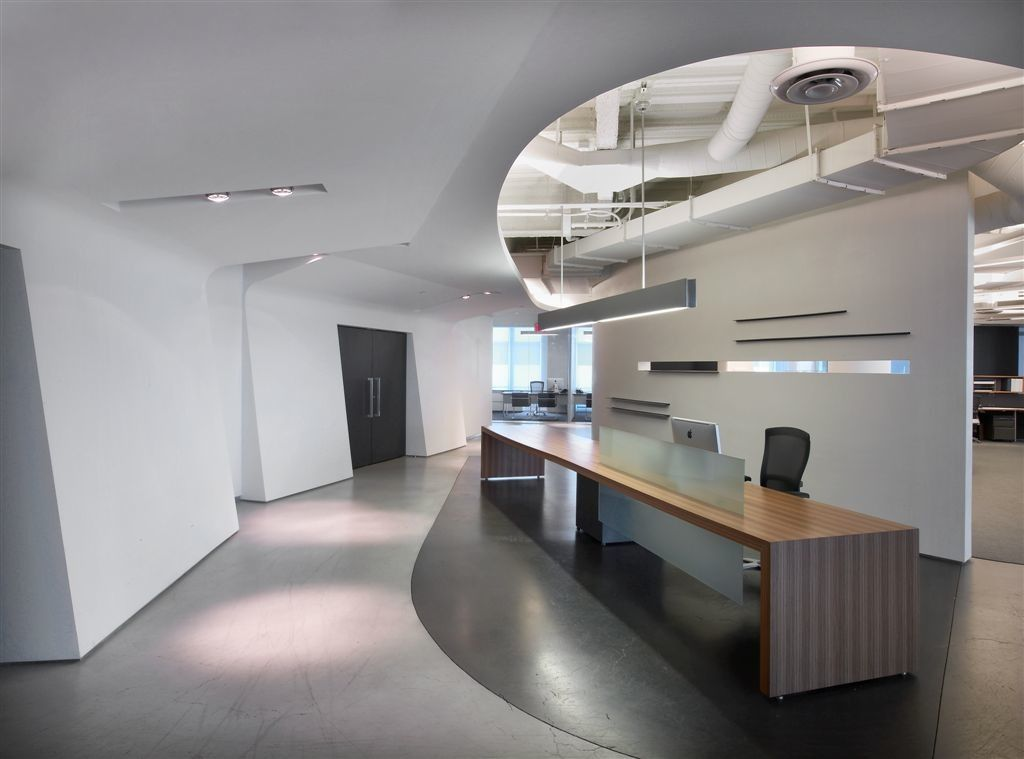 Reception Desk Made From Wood And Frosted Glass