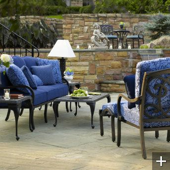 I'm loving this blue color from Grandin Road's outdoor seating collection.
