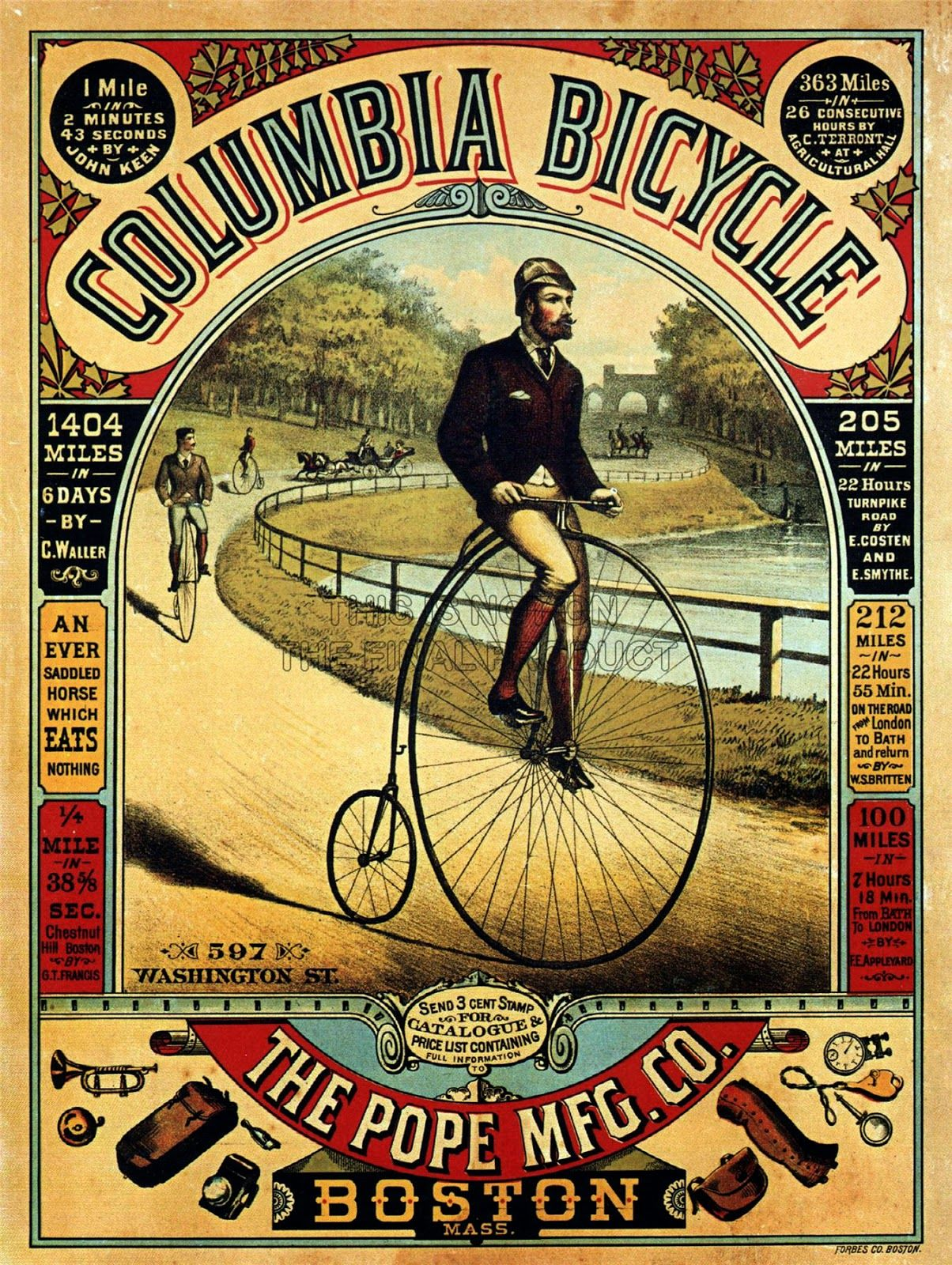 Waverley Bicycle Bike Vintage French Label Advertisement Art Poster Print