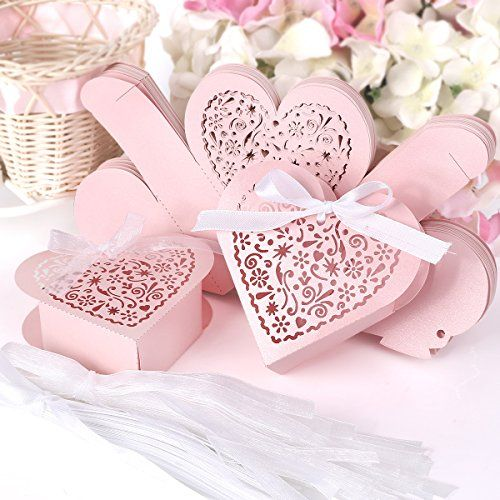 Laser Cut Heart Shape Wedding Favor Chocolate Candy Gift Boxes Surepromise
