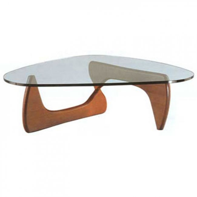 Isamu Noguchi Style Modern Wooden Coffee Table with Glass Top