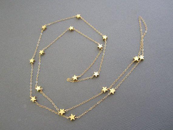 14K Vermeil Star Halskette, Lehrer der Halskette, Geschenk für Lehrer inspirieren Geschenk für Lehrer, lange Goldene Halskette, lange Star Halskette, Schmuck