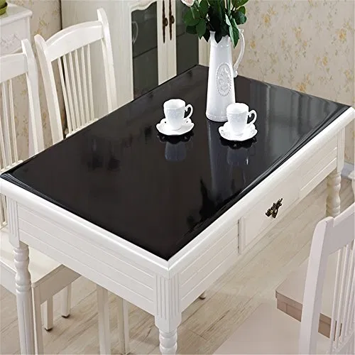 Ostepdecor Black Plastic Table Top Protector Tablecloth Cover Pvc