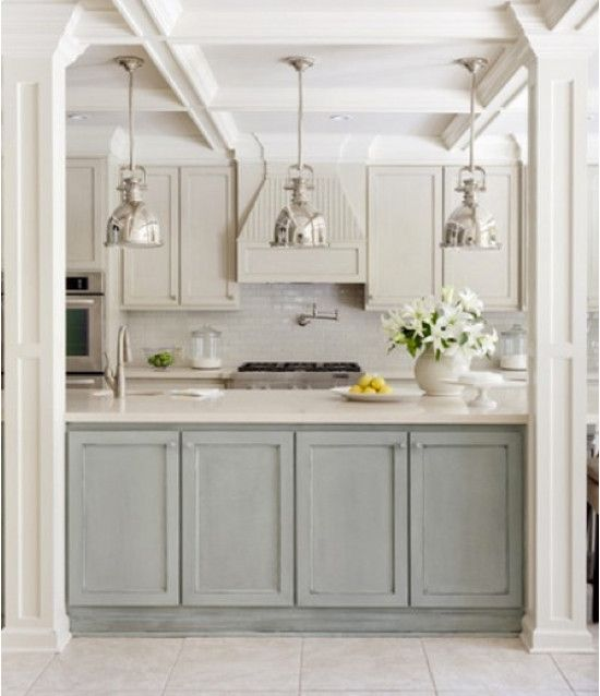 Light Colored Kitchen Cabinets: Kitchen With Mixed White, Sand And