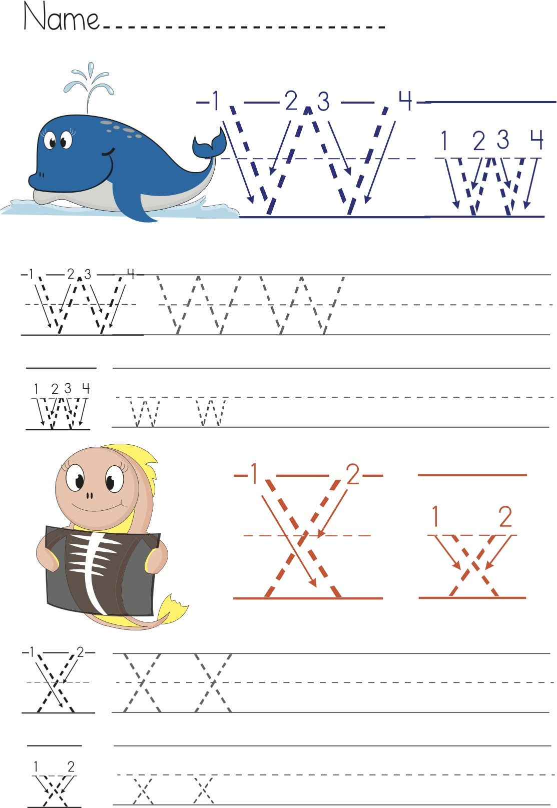 Writing Worksheet W X For Preschool