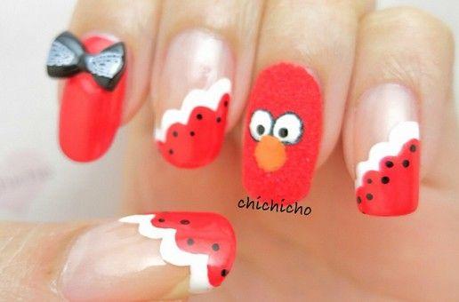 Outrageous Nail Designs Fuzzy Elmo Nail Elmo Birthday Party