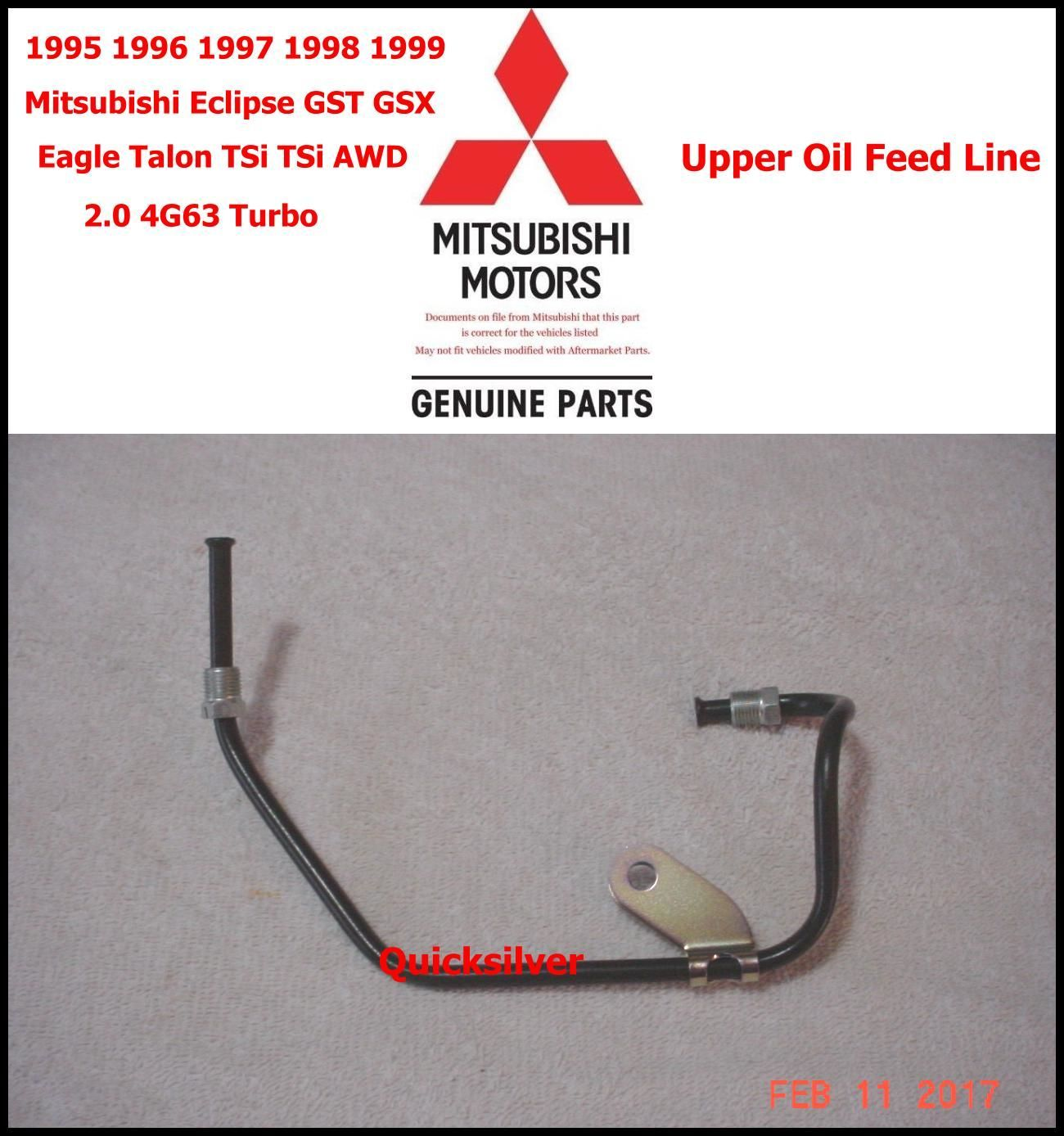 hight resolution of 95 99 eclipse talon turbo upper oil feed line 4g63 new oem mitsubishi eclipse oem