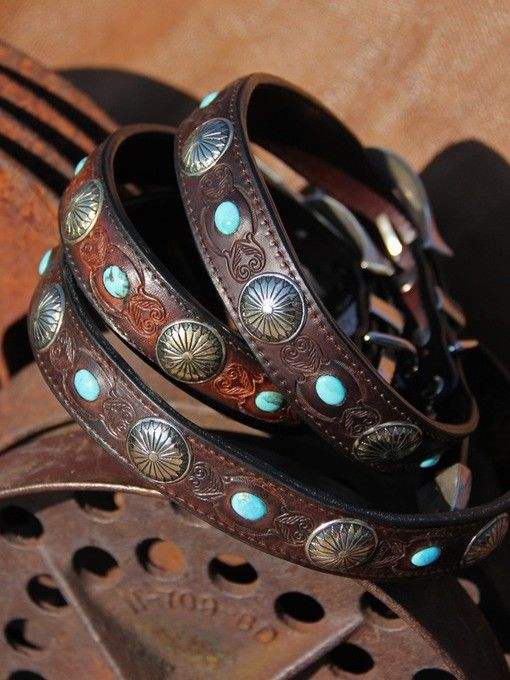Concho laden leather dog collar, with real turquoise inserts by Brit West
