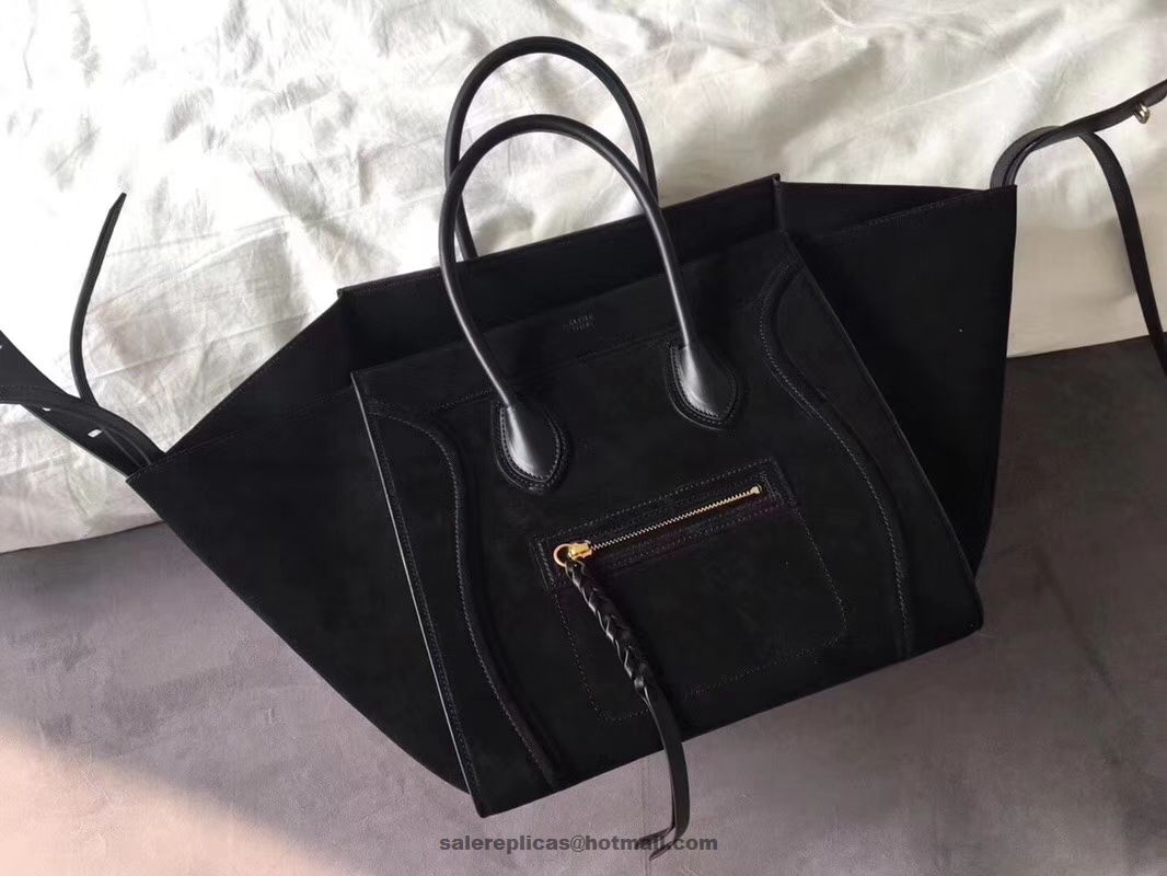 a886b8efcd97 Celine Suede Luggage Phantom Bag Black