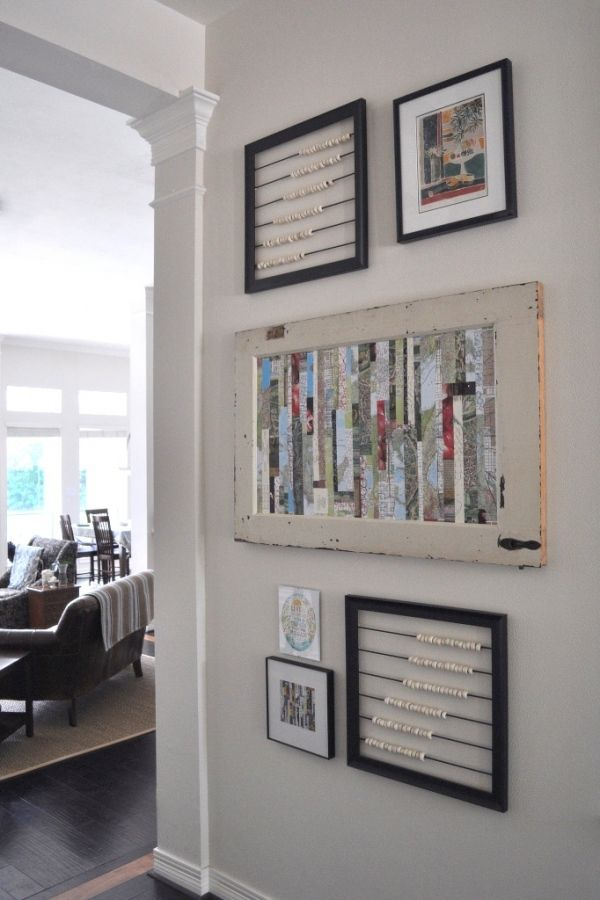 I like the whole display, but especially the antique door collage. Instructions here...