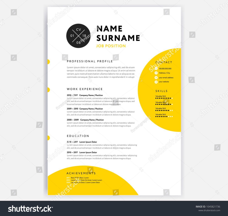 Yellow Cv Resume Template Curriculum Vitae Sample Vector Design