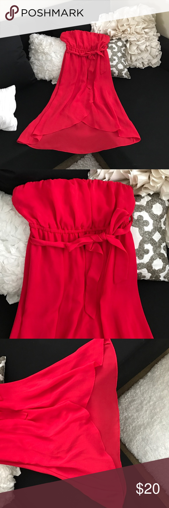 Coral red dress short long dresses bra straps and strapless dress
