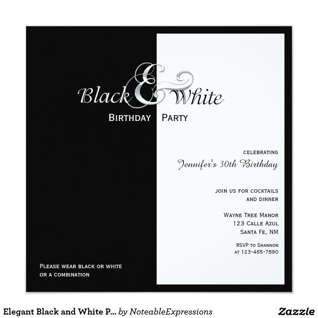 Elegant Black And White Party X Square Paper Invitation - Black and white 30th birthday party invitations