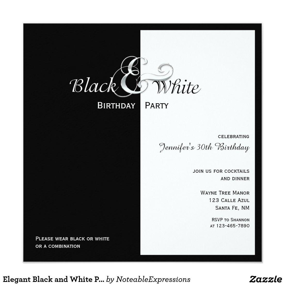 Elegant Black And White Party Invitation Zazzle Com Black