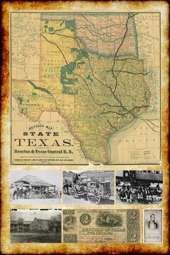 "The Lonesome Dove~Comanche Moon~Great Trails Map 36/""x24"