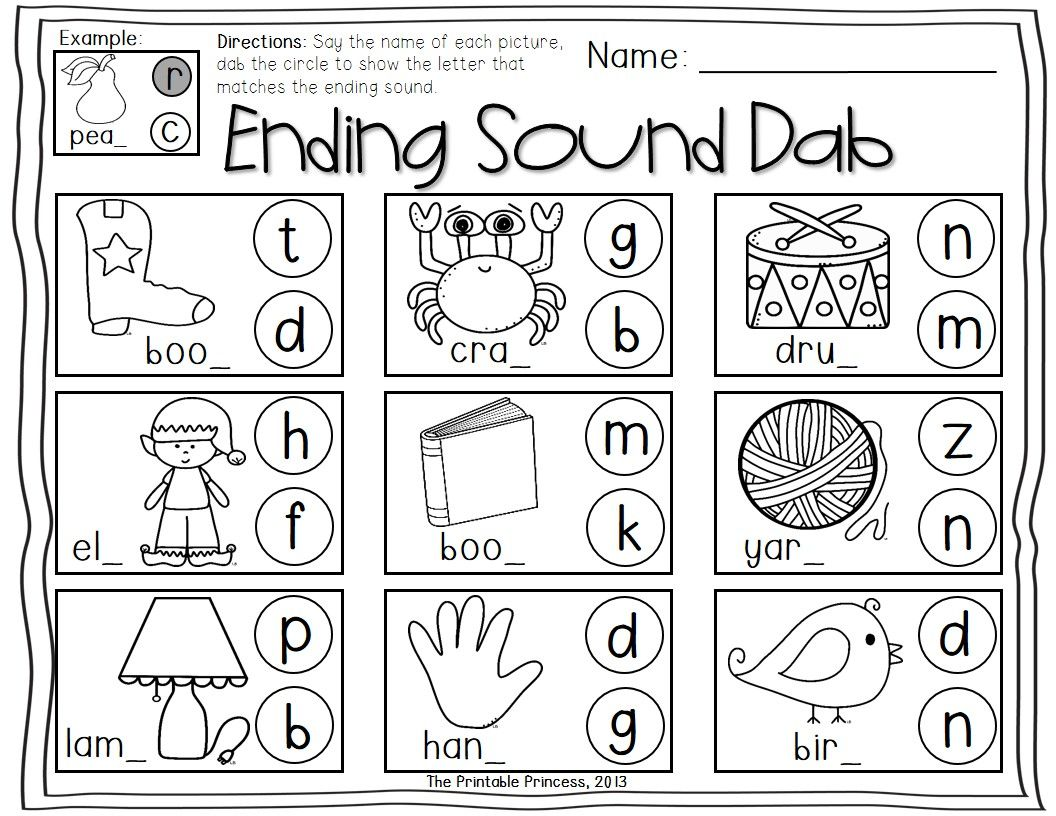 Worksheets Ending Sounds Worksheets kindergarten literacy centers using bingo dabbers dabber dabbers
