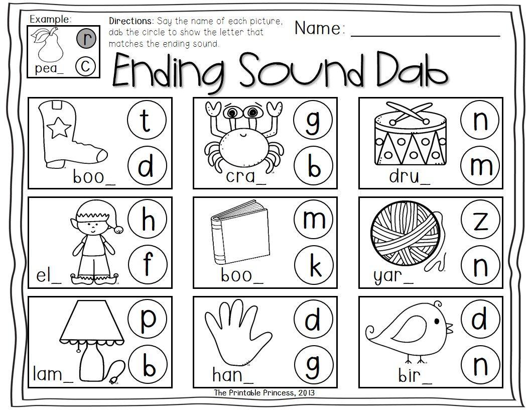Special Sounds Worksheets : Ending special sounds dab it worksheets kindergarten st