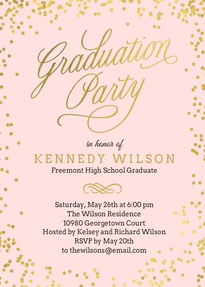 Shiny Confetti Pink Graduation Invitation Designed By Berry Berry