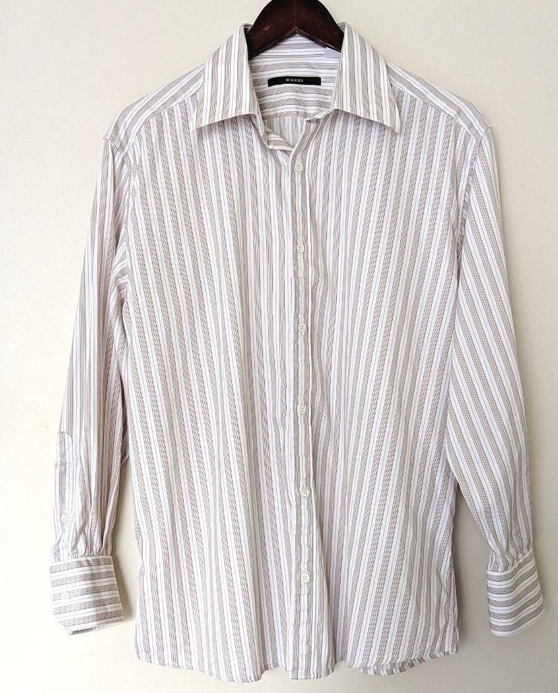 656960ba55a Gucci Striped Size 41 16 Button Down Dress Shirt Long Sleeves Made Italy.  Gucci embossed iridescent buttons. White shirt with black, brown and tan  vertical ...