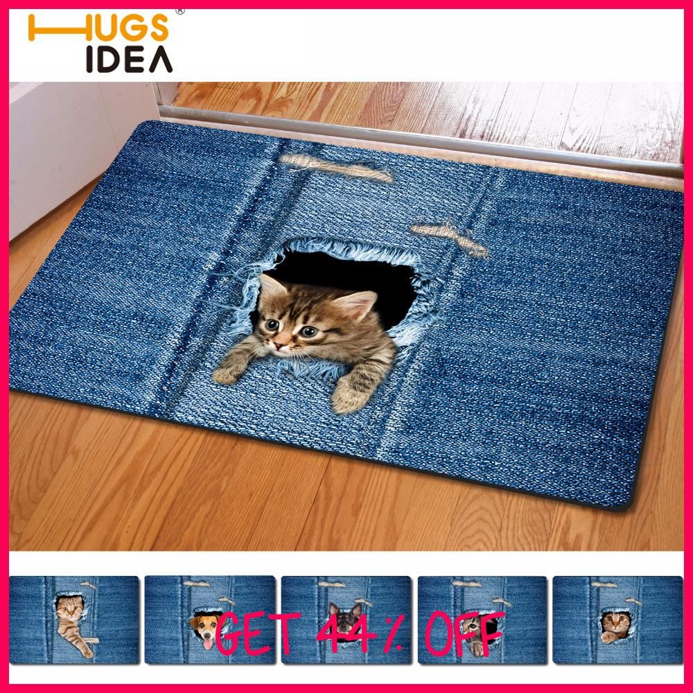 Hugsidea Kawaii 3d Denim Cat Dog Carpet Non Slip Kitchen Tapetes  -> Tapete Sala Home