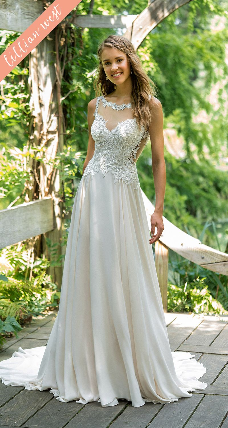 Style lace bodice aline wedding dress with bateau neckline
