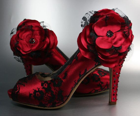 Wedding Shoes Red Peep Toe Wedding Shoes With Black Lace Overlay And Matching Flower On Ankle Red Wedding Shoes Peep Toe Wedding Shoes Red Shoes