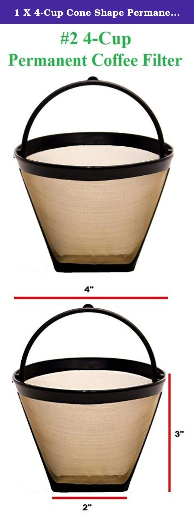 1 X 4Cup Cone Shape Permanent Coffee Filter fits Mr