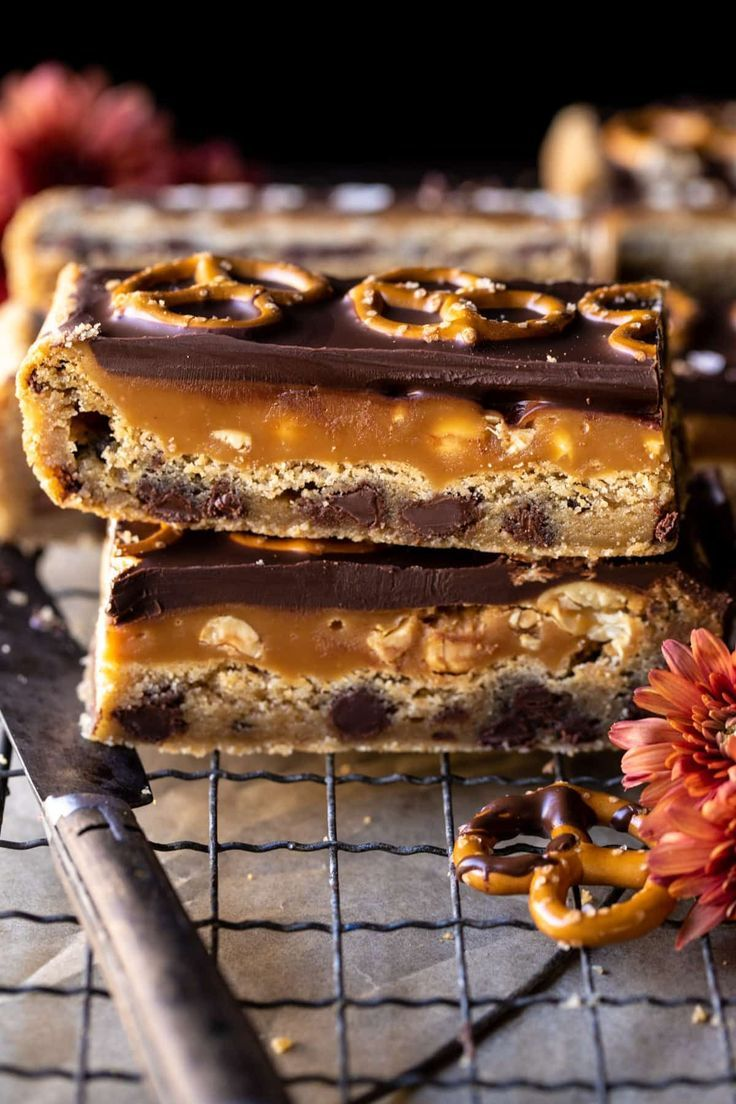 Photo of Salted Pretzel Chocolate Chip Cookie Snickers Bars. – Half Baked Harvest